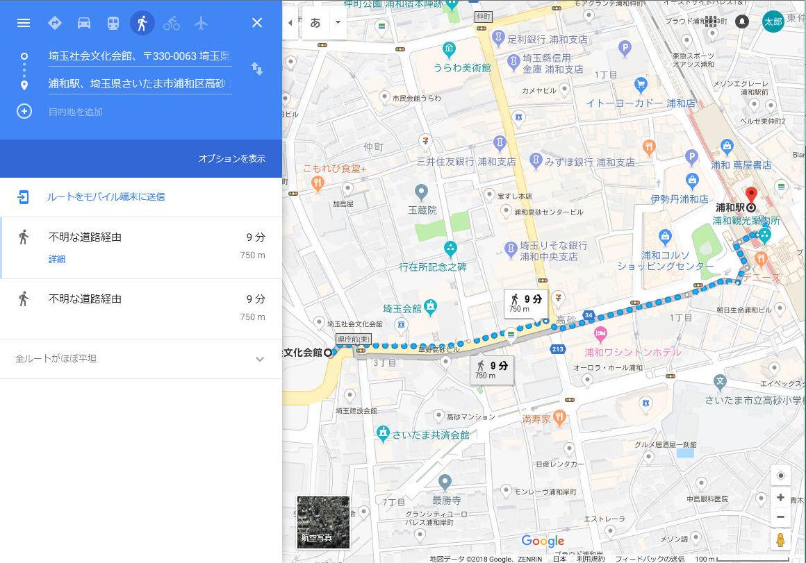 不動産物件の駅徒歩は道路距離80メートルあたり1分で計算。google ...